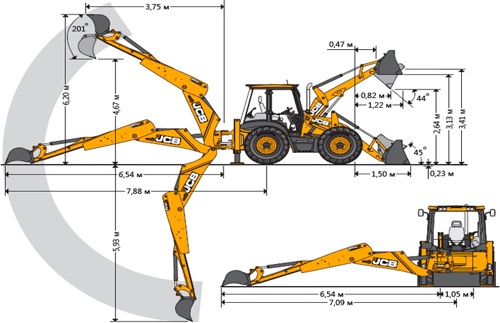 Схема экскаватора-погрузчика JCB 3CX
