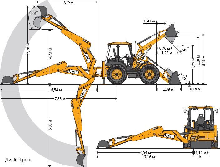 Схема экскаватора-погрузчика JCB 4CX